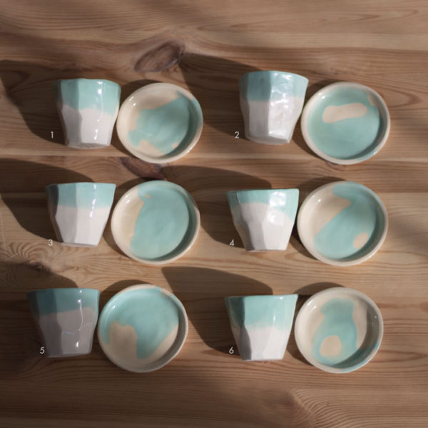 ceramic cup and dish coffee green