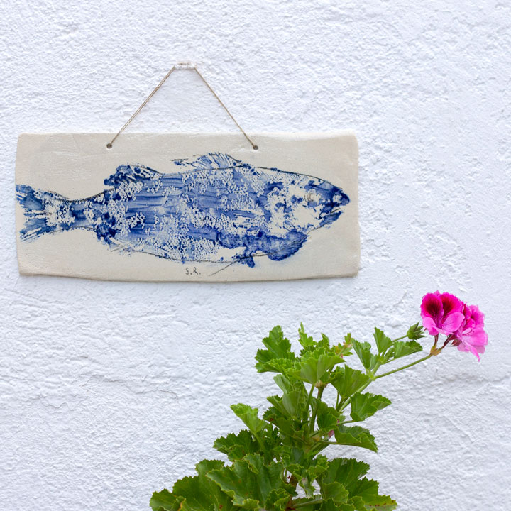 Ceramic gyotaku wall ornament