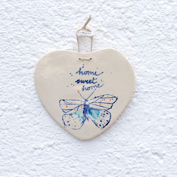Ceramic Flowers Wall Hanging Heart Ornament. outlet handmade ceramic