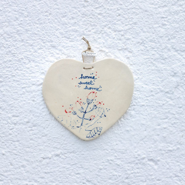 Ceramic Flowers Wall Hanging Heart Ornament. Ceramic Decoration inspired in mediterranean style, siesta time and blue colours from the sea