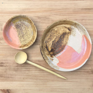 handmade ceramic set of pink plates